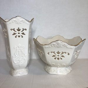 Lenox Langtry Collection Bowl And Vase Set